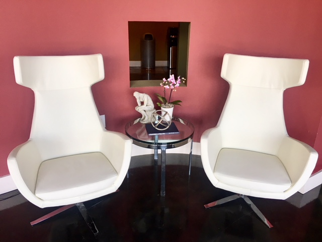 Charmant New White Leather Lobby Chairs